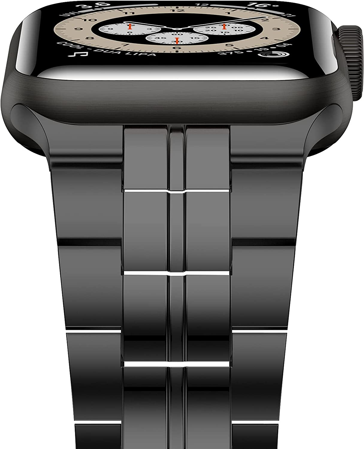 iiteeology Compatible with Apple Watch Band 44mm 42mm, Titanium Steel Metal Strap for Men with Double Button Clasp for iWatch SE Series 6 5 4 3 2 1, Black, 42mm/44mm