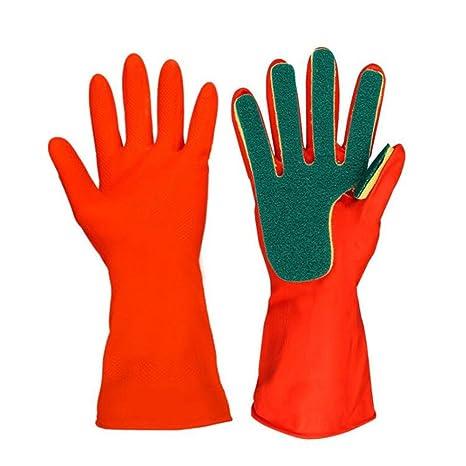 Askdasu - Guantes de limpieza para cocina, guantes de goma con esponja 31 cm rosso