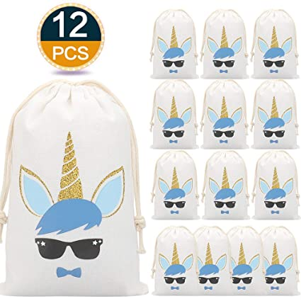 12Pack Unicornio para Bolsos de Regalos para Niñas de Niños, Los Bolsos Unicorn para Los Niños, el Bolso de Lona con Lazo, el Regalo Reutilizable ...