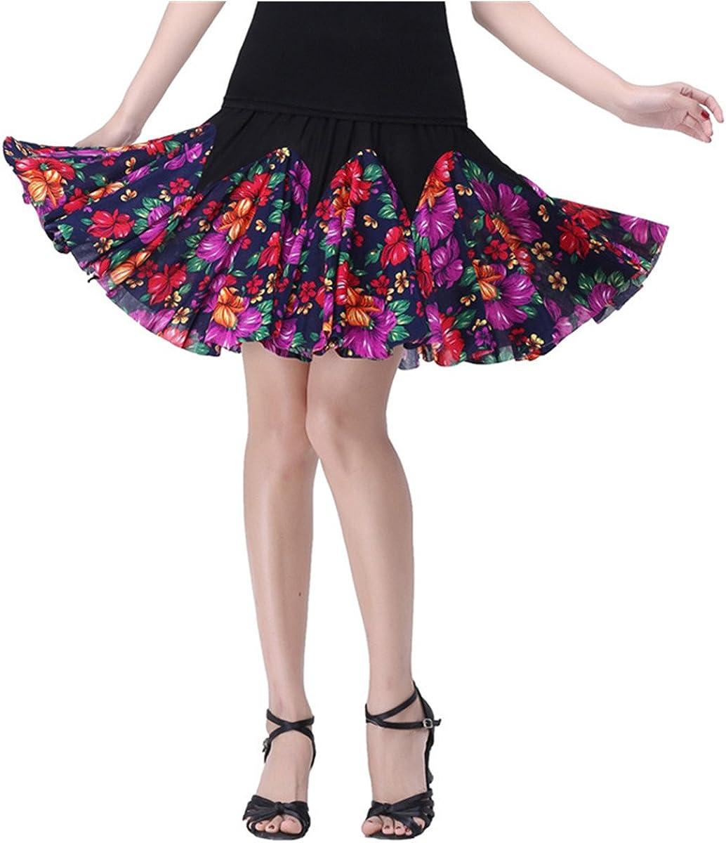 Women Latin Dance Skirt Salsa Tango Rumba Cha Cha Dancing Costume Dress w//Shorts