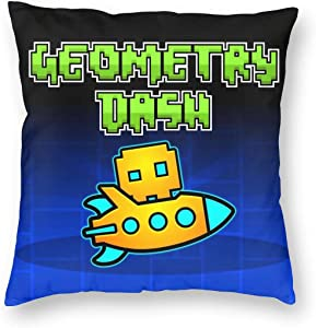 Geom-etry-Dash Square Pillow Throw Case Soft Covers Set Cushion Hold Multiple Sizes Pillowcase Sofa Bed Home