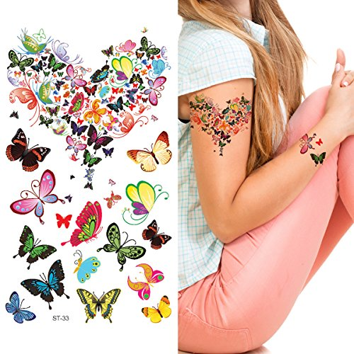 Supperb Mix Butterflies Butterfly Temporary Tattoos (Butterflies Love (Heart & Butterfly Tattoos)