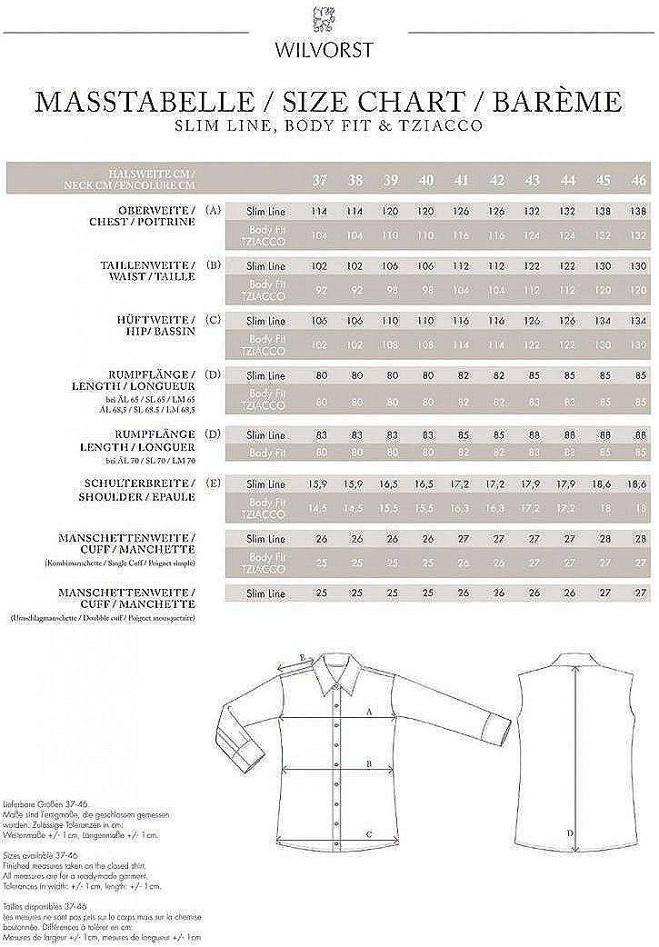 100/% BW Wilvorst Smokinghemd Bodyfit Creme Haikragen extra Langer Arm