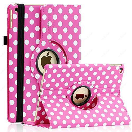 iPad Air 2 Case (Released 2014), SAWE - PU Leather Case with 360 Degrees Rotating Swivel Stand Folio Case Smart Cover for New iPad Air 2 2nd (iPad 6) Gen with Sleep / Wake Up Feature WiFi & 4G LTE (Hot Pink Dot)