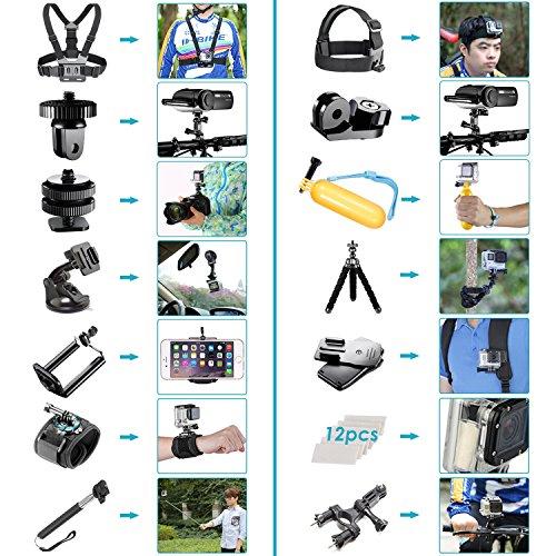 Neewer 53-In-1 Accessory Kit for GoPro Hero 7 6 5 4 3+ 3 2 1 Hero Session 5 Black AKASO EK7000 Apeman SJ4000 5000 6000 DBPOWER AKASO VicTsing WiMiUS Rollei QUMOX Lightdow Campark and Sony Sports DV