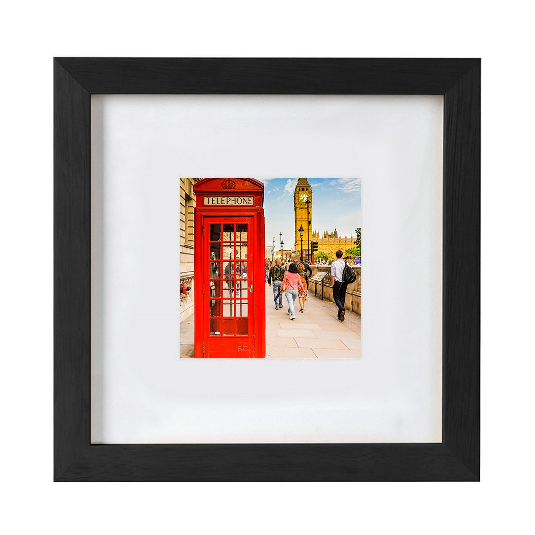 8x8 Inch Black Picture Frames Made to 4x4 Wooden Square Photo Frames with Mat for Wall Hanging or Table Top