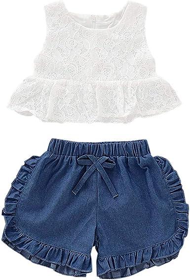 BBSMLIN Ropa Bebe Niña Verano 2020 Ropita para Recién Nacido Bebé 0 a 6 12 18 24 Meses 1 2 años - 2PC Conjunto, Blusa sin Mangas de Encaje + Pantalón Cortos Tejano: Amazon.es: Ropa y accesorios