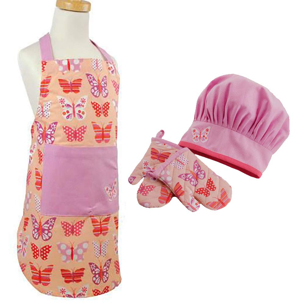 Girls Apron Set - Adjustable Apron, Chef Hat and Oven Mitts - Pink Butterfly Design