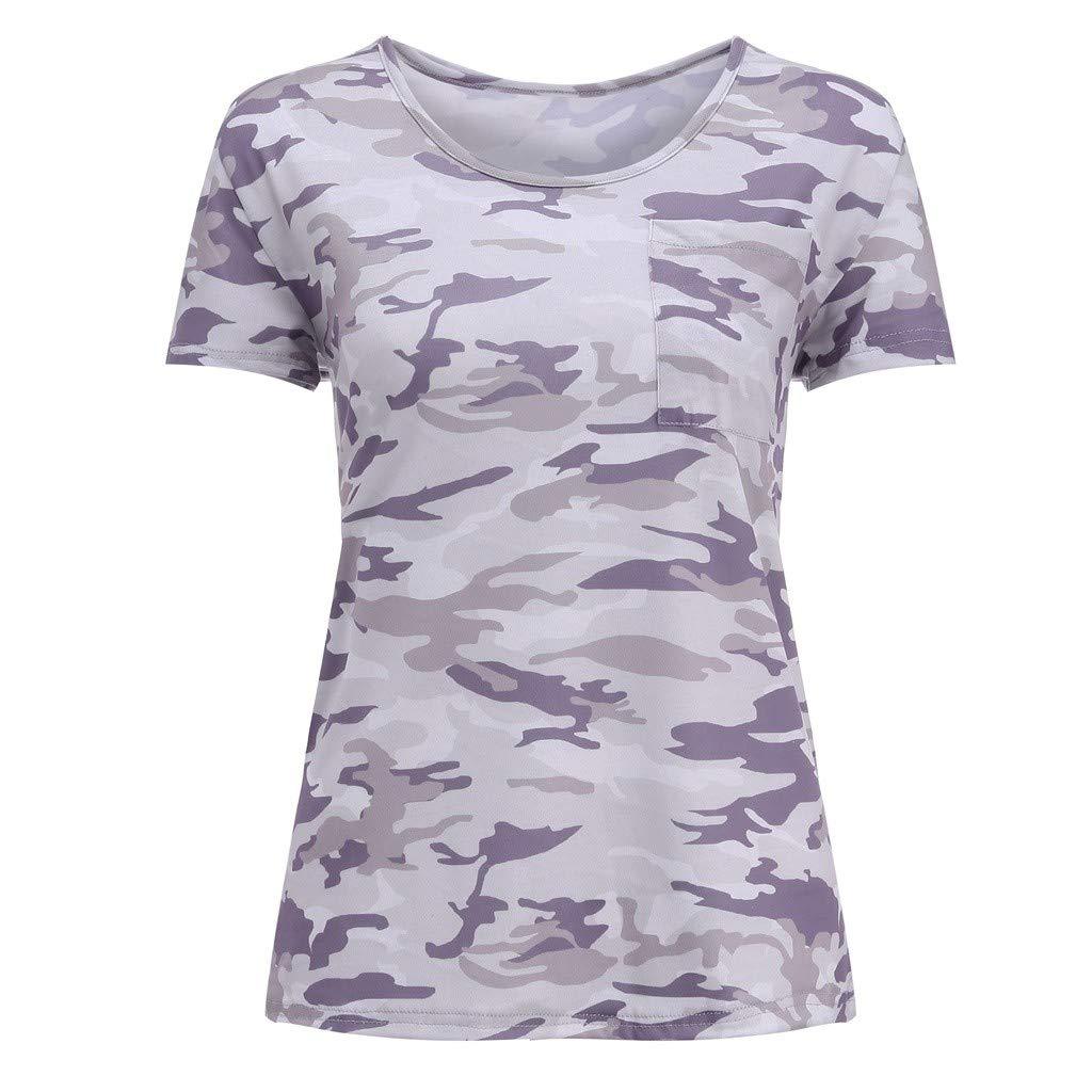 Kiminana Womens Casual Camouflage Color Block Long Sleeve Short O-Neck Sleeve T Shirts Blouses Tops by Kiminana (Image #4)
