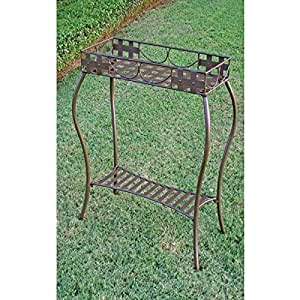 International Caravan Santa Fe Wrought Iron Rectangular Plant Stand
