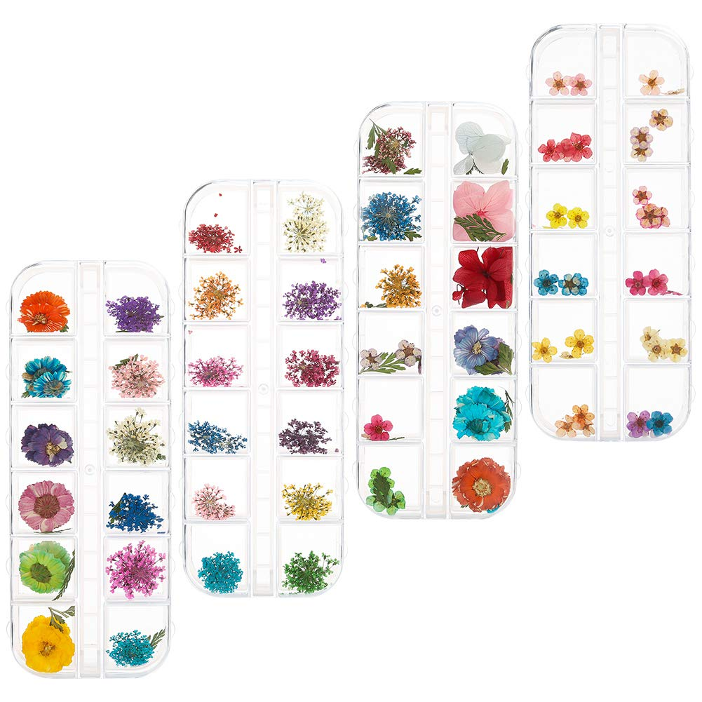 DaveandAthena 144 Pieces Nail Dried Flowers Natural Art Real Dried Flowers Set Nail Applique 3D Nail Art Accessory for Nail Decor by DaveandAthena