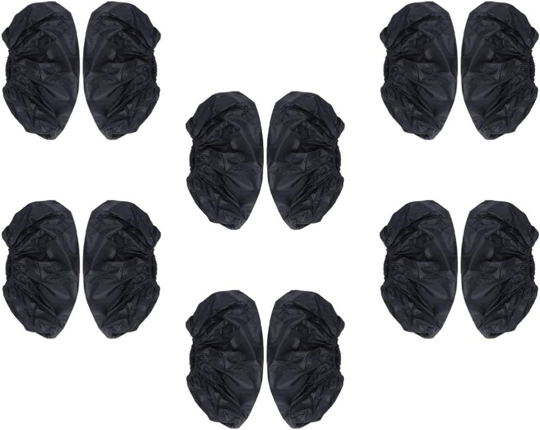 Supvox 12 pcs Shoe Covers Reusable Black Anti Slip Wear Resistant Machine Washable Shoe Protectors