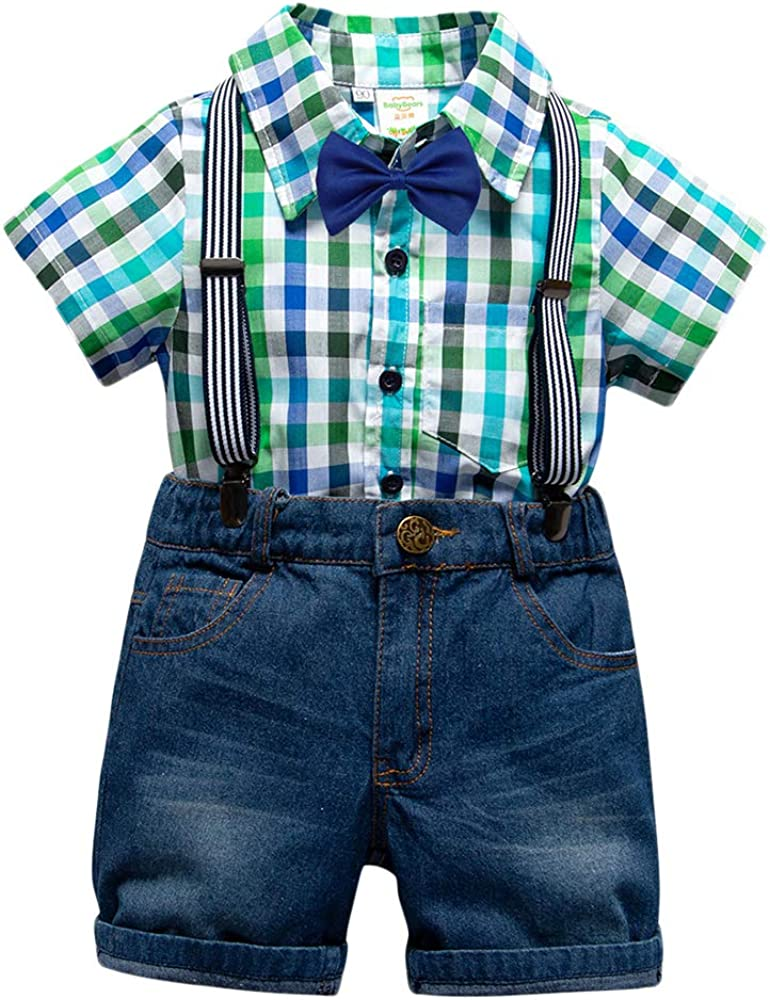 Bebé Niño Conjunto Gentleman Ropa Tartán Camisa Manga Corta + ...