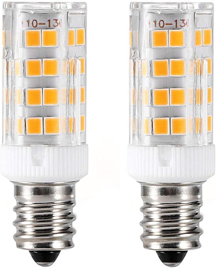 E12 LED Light Bulb 4W,Non-dimmable,40W Equivalent,Warm White 3000K, T3/T4 Candelabra Base E12 Bulb for Ceiling Fan, Chandelier, Indoor Decorative Lighting , 2-Pack