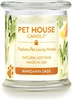 product image for One Fur All 100% Natural Soy Wax Candle, 20 Fragrances - Pet Odor Eliminator, Appx 60 Hrs Burn Time, Non-Toxic, Reusable Glass Jar Scented Candles – Pet House Candle, Mandarin Sage