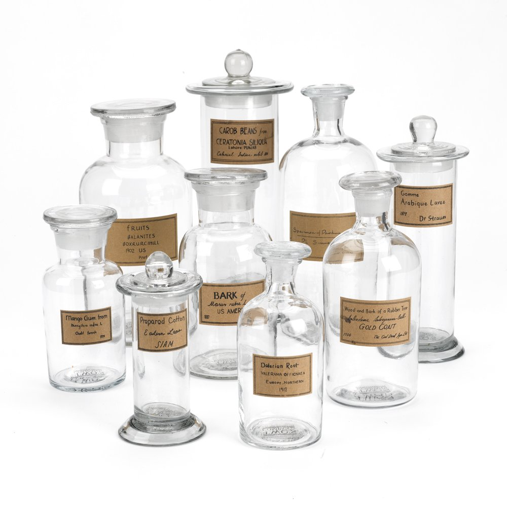 Two's Company Botany Apothecary Jars with Antiqued Labels, Set of 9 by Two's Company
