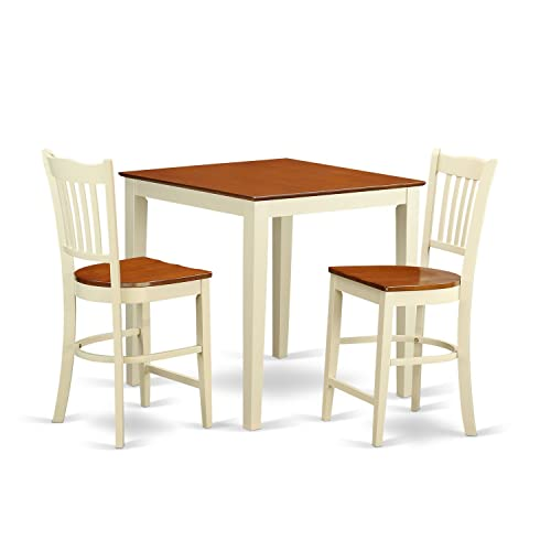 VNGR3-WHI-W 3 PC counter height set – Dining Table and 2 bar stools.
