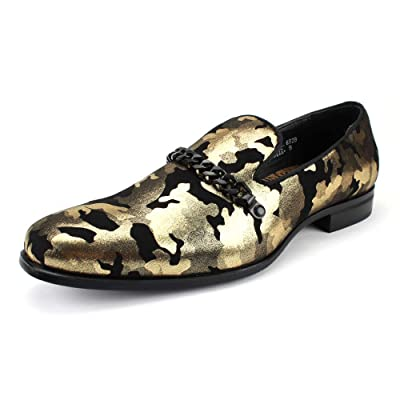 Amazon.com | AFTER MIDNIGHT 6828 Smoker Shoe with Camouflage and Metal Chain Ornament | Loafers & Slip-Ons
