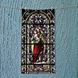SOCOMIMI Soft Luxury Towel of Jesus Pictures Catholic Gifts Believe Art Christian Church Cathedral Window View Silky Absorbent Ideal for Everyday use