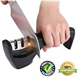 Knife Sharpener - Kitchen 3-Stage Knife Sharpener Tool for Straight and Serrated Knives