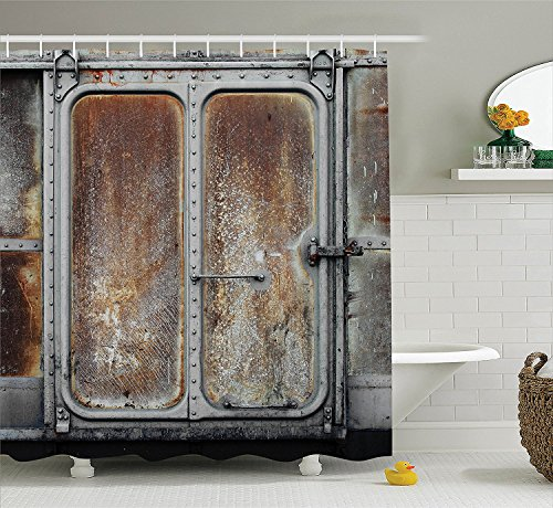 [Industrial Decor Shower Curtain Set Vintage Railway Container Door Metal Old Locomotive Transportation Iron Power Design Bathroom Accessories Grey] (Vintage Pin Up Girl Costume Ideas)