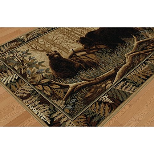 D&H 2'7'' x7'3 Beige Brown Bear Wildlife Printed Runner Rug, Indoor Animal Pattern Living Room Rectangle Carpet, Southwest Cabin Themed, Soft Synthetic Material, Hunting Wild Nature Lodge Cottage