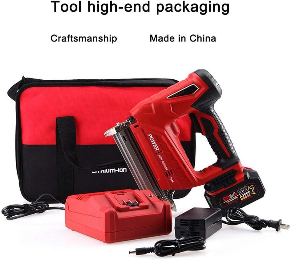 Grapadora eléctrica de clavadora, pistola de grapas 2 en 1 Grapadora potente y potente Clavadora de clavos Construida Compresión de aire 20 V Máx. Batería adicional