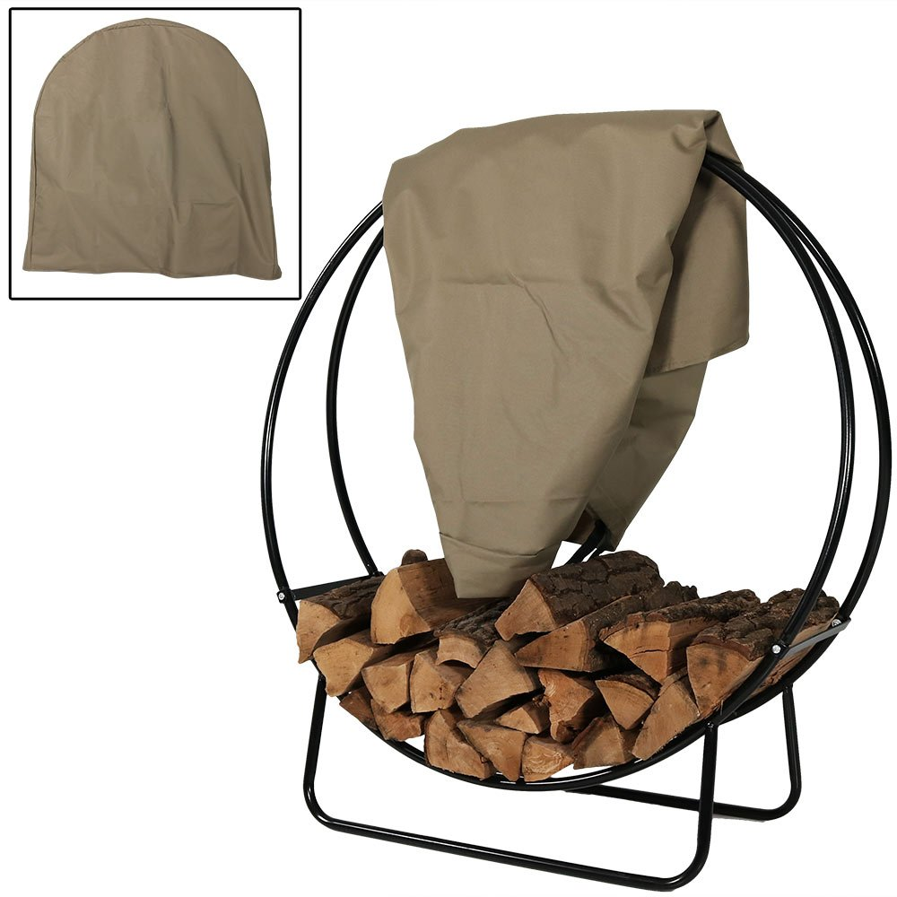 Sunnydaze Firewood Log Hoop Cover ONLY, Heavy Duty Outdoor Waterproof and Weather Resistant, 24 Inch, Black Sunnydaze Decor