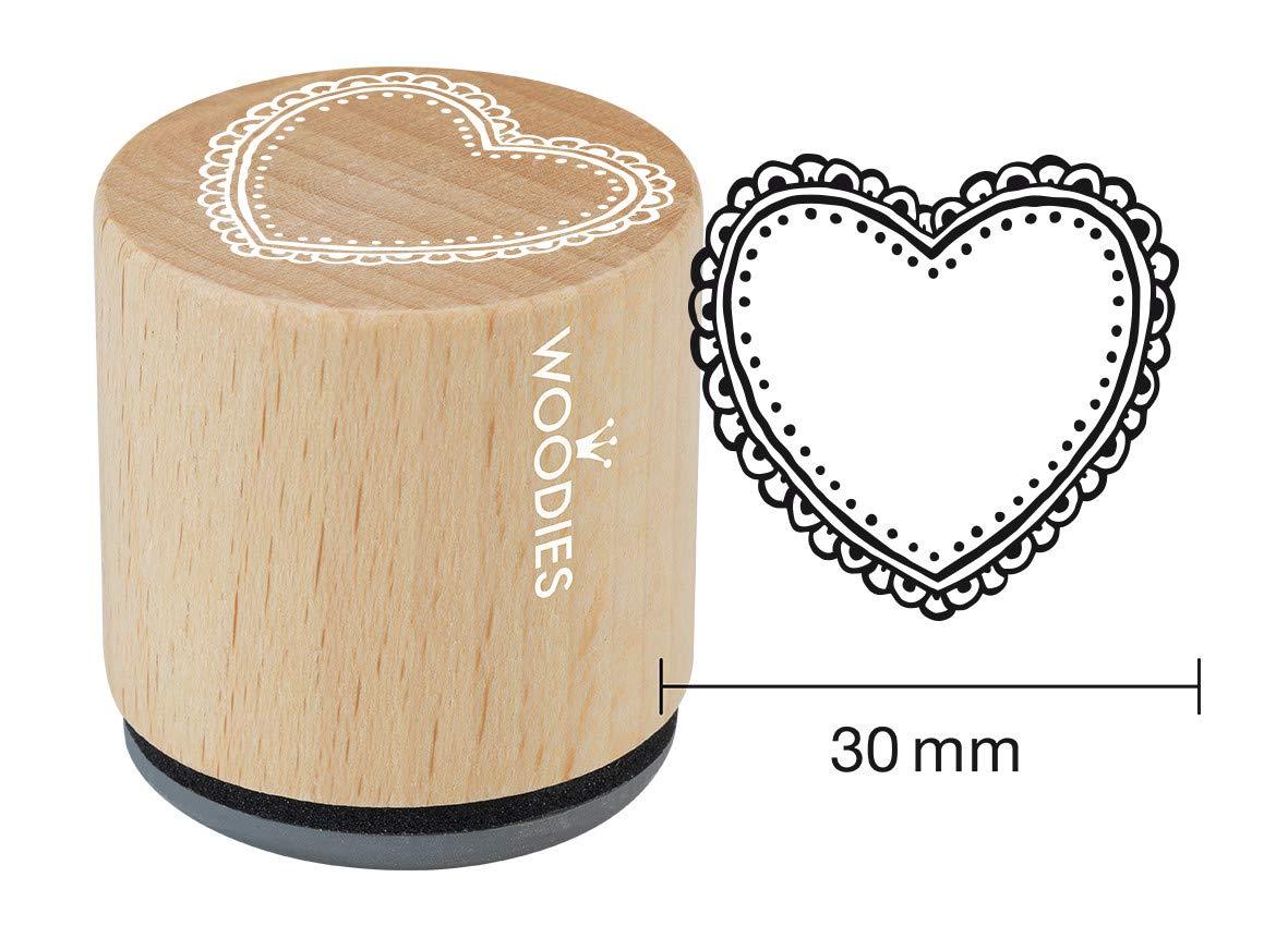 Woodies Timbro Ornamento Cuore 3,4/x 3,4/x 3,5/cm Legno