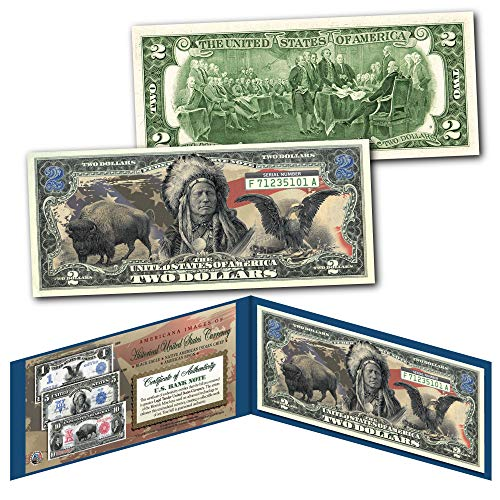 Americana Images of Historical U.S. Currency Collectible Art Two-Dollar Bill