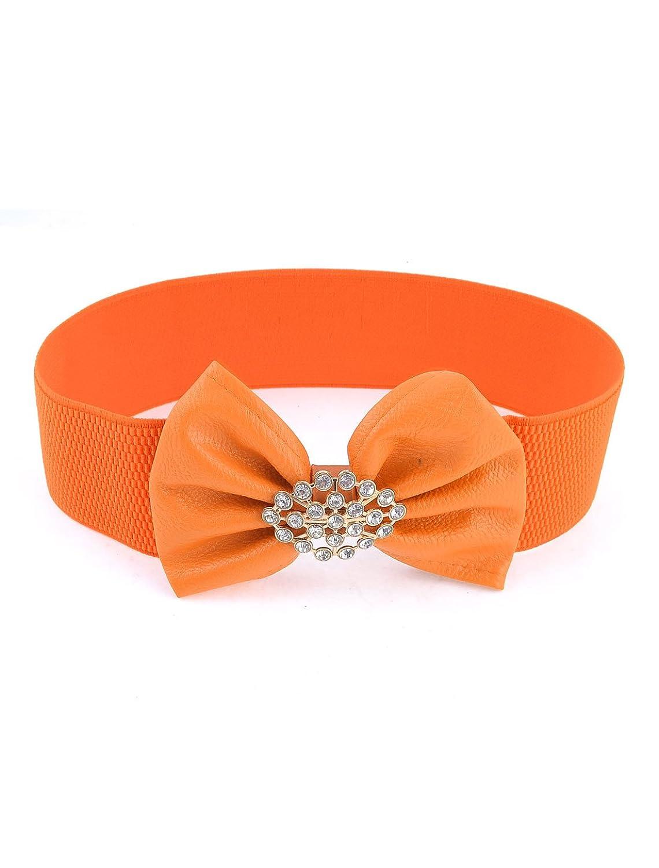 Lady Plastic Rhinestone Bowknot Decor Stretchy Cinch Waist Belt Orange