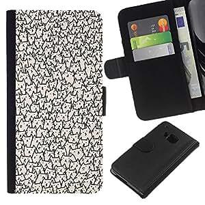 A-type (Faces Wallpaper Never Ending) Colorida Impresión Funda Cuero Monedero Caja Bolsa Cubierta Caja Piel Card Slots Para HTC One M7