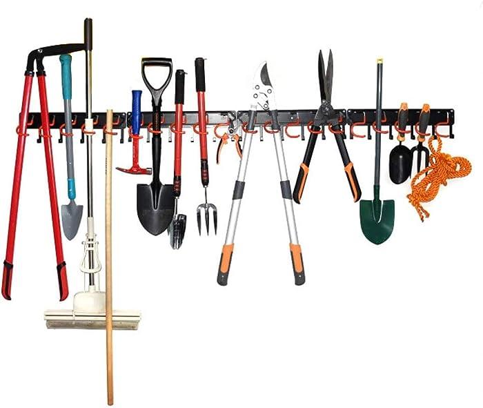 "64"" Broom Mop Holder Garage Tool Organizer Heavy Duty Tools Hanger Wall Mounted Holds Garden Tools, Shovels, Rakes, Brooms, Cords, Hoses, Ropes"