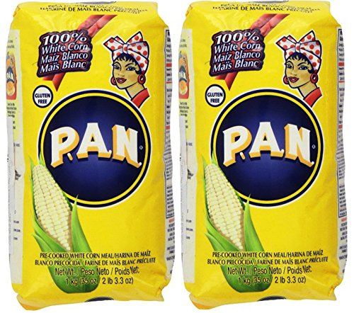P.A.N Harina Blanca - Pre-cooked White Corn Meal 2LB. 3.3 Oz (Pack of (Harina Pan)
