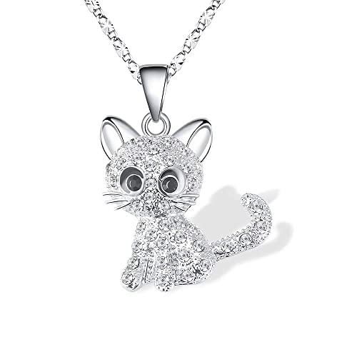 a52b14a6a069d TAO SHI Kitty Cat Pendant Necklace Jewelry for Women Girls Kids, Cat Lover  Gifts Silver Chain Necklace 18+2.3 inch