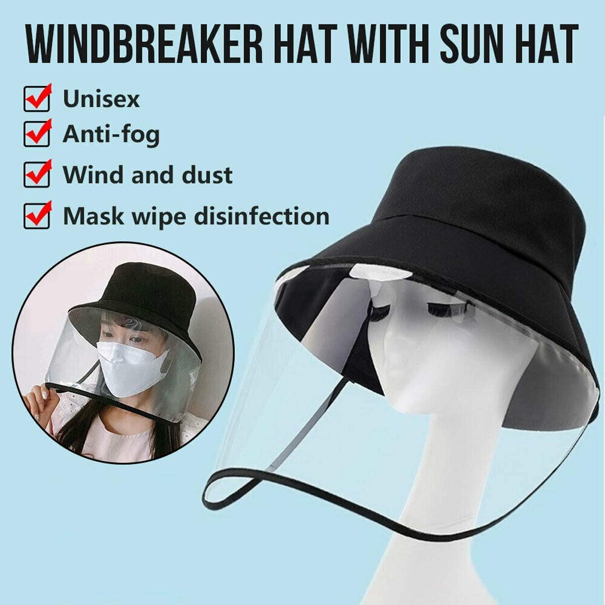 Reusable Face Visor for Protection Universal Anti-Fog Dust-Proof Sun Hat for Women fancheng Safety Face Shield Anti-Spitting Anti-Splash Full Face Protective Empty Top Hat Men.