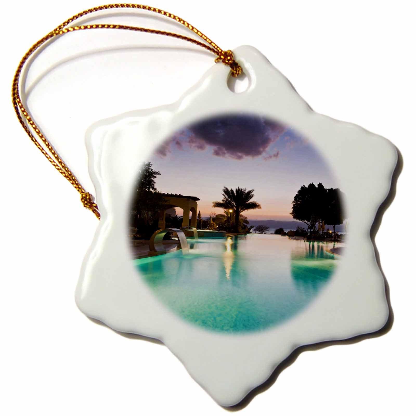 3dRose orn_72644_1 Jordan, Dead Sea, Suweimah, Pool, Marriott Hotel-AS16 WBI0174-Walter Bibikow-Snowflake Ornament, Porcelain, 3''