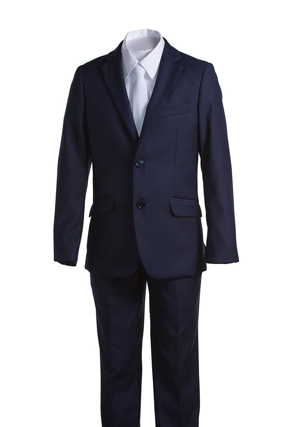 Boys Slim Fit Communion Suit Navy Blue with Suspenders & White Tie