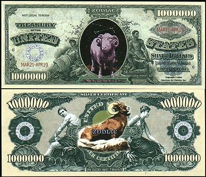Set of 10 Bills-Aries Million Dollar Bill