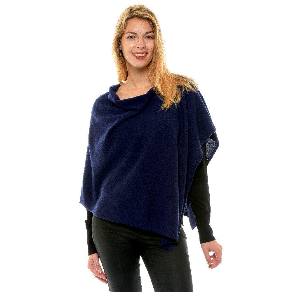 bluee Navy LES POULETTES Womens 100% Cashmere Poncho 2 Plys Classics