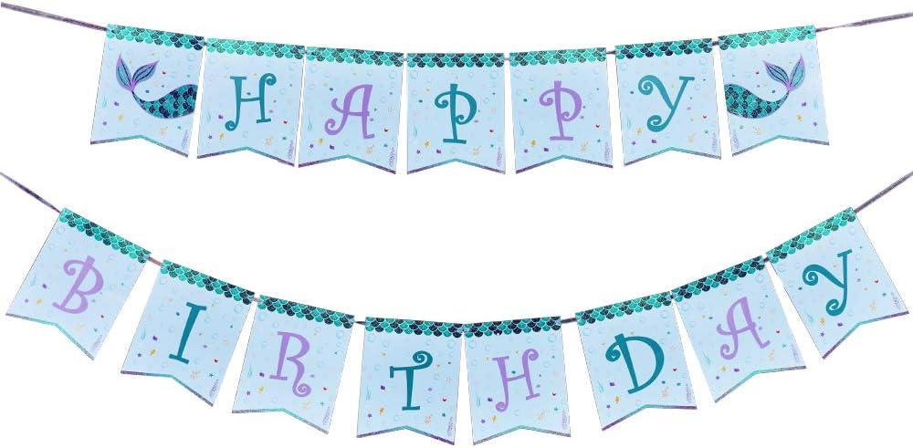 Meerjungfrau Happy Birthday Banner Alles Gute zum Geburtstag f/ür M/ädchen Kinder Unter dem Meer Schwimmbad Partyzubeh/ör Vorgespannt WERNNSAI Meerjungfrau Geburtstag Party Dekorationen