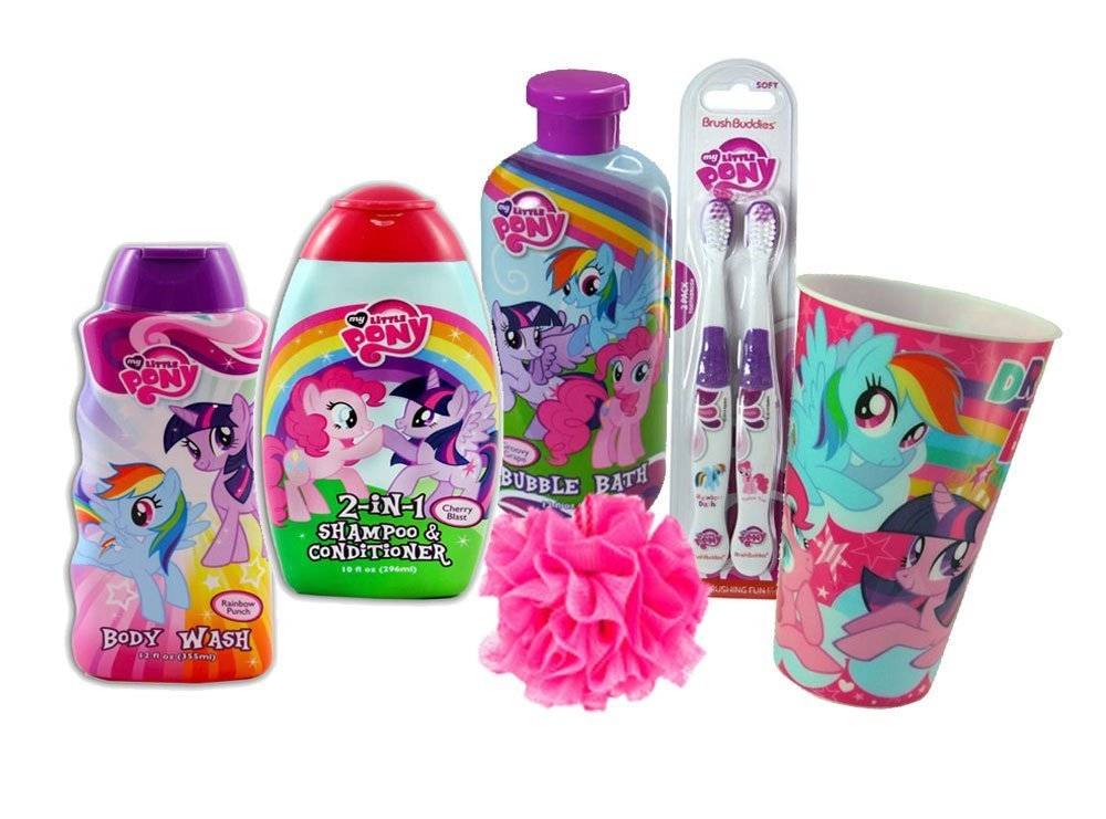 My Little Pony 7pc. All Inclusive Girls Bathroom Beauty Collection! Includes Body Wash, 2-in-1 Shampoo & Conditioner, Bubble Bath & Cleansing Bath Puff Plus Bonus Bright Smile Oral Hygiene Set!