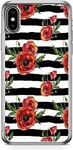 Loud Universe Phone Case Fits iPhone XS Elegant Black Rose Phone Case Trendy Pattern Transparent Edge iPhone XS Case