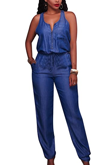 c1d40db611 Amazon.com  Zilcremo Women Denim Jumpsuits Sleeveless Full Length Jeans  Jumpsuit Rompers Overalls  Clothing