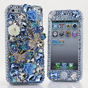 Iphone 5c 5C Luxury 3d Bling Case - Gorgeous Cute 3D Miniature Craft Deco Jewelry Princess Love Art Design Phone Case - Swarovski Crystal Diamond Sparkle Girly Protective Cover Faceplate (100% Handcrafted By Star33mall) (Bule Butterfly_style_359)
