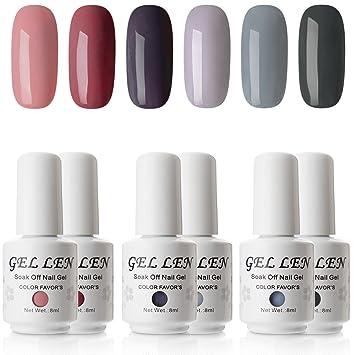 Amazon Gellen Gel Nail Polish Set Dark Gray Nude Colors Nail