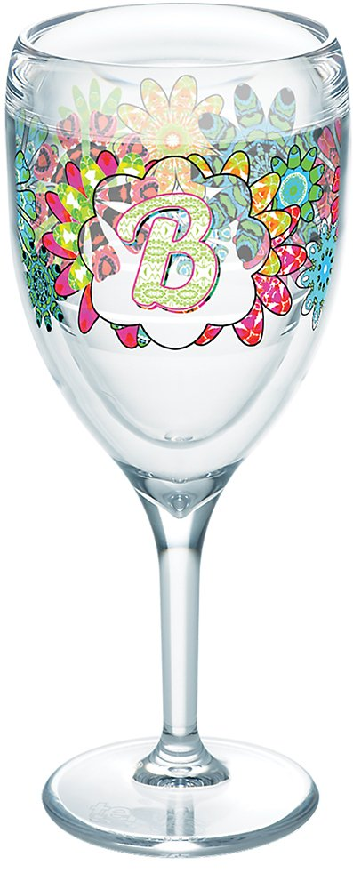 Tervis 1278179 INITIAL-B Flower Burst Tumbler with Wrap 9oz Wine Glass, Clear