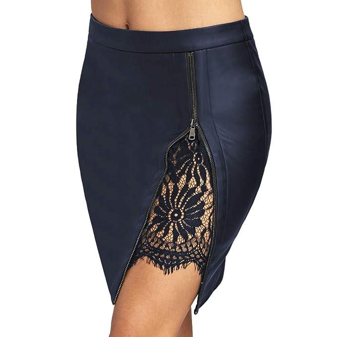 YTJH Falda Mujer de Lápiz de Cuero PU Cintura Alta Mini Falda de Encaje con  Cremallera Tamaño Estándar 3029dcfd1aa1