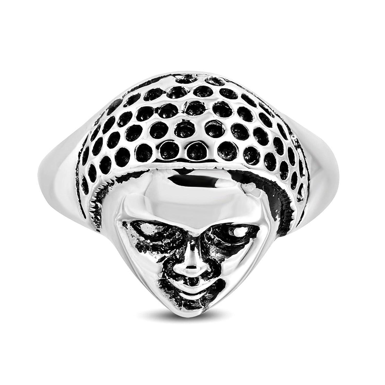 Stainless Steel 2 Color Skull Biker Ring