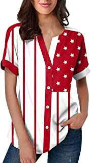 American Flag Shirt Women Button Down T Shirts Short Sleeve Stars and Stripes Print Color Block Tunic Tops 4th of July Patriotic Casual Soft Tee Blouses Plus Size
